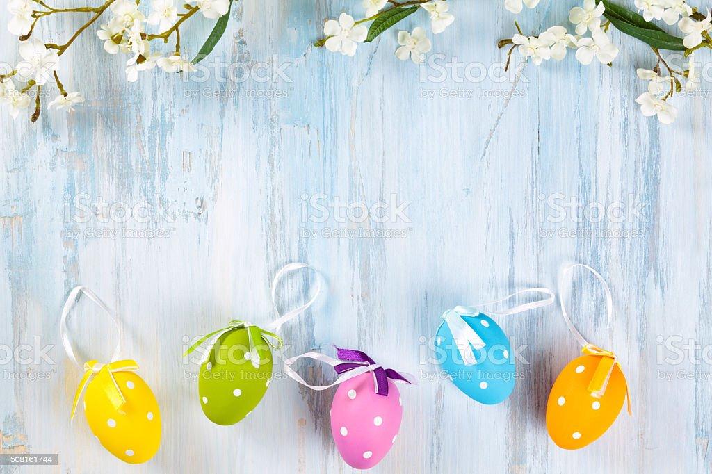 Easter eggs frame. stock photo
