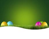 easter eggs green garden grass 3d render
