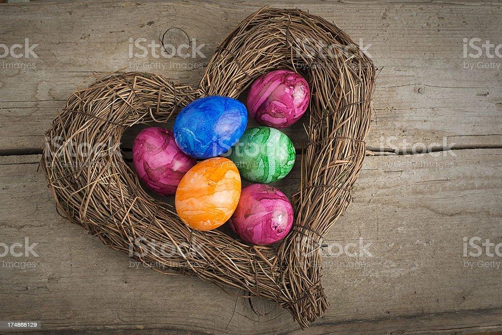 Easter Eggs, Heart stock photo