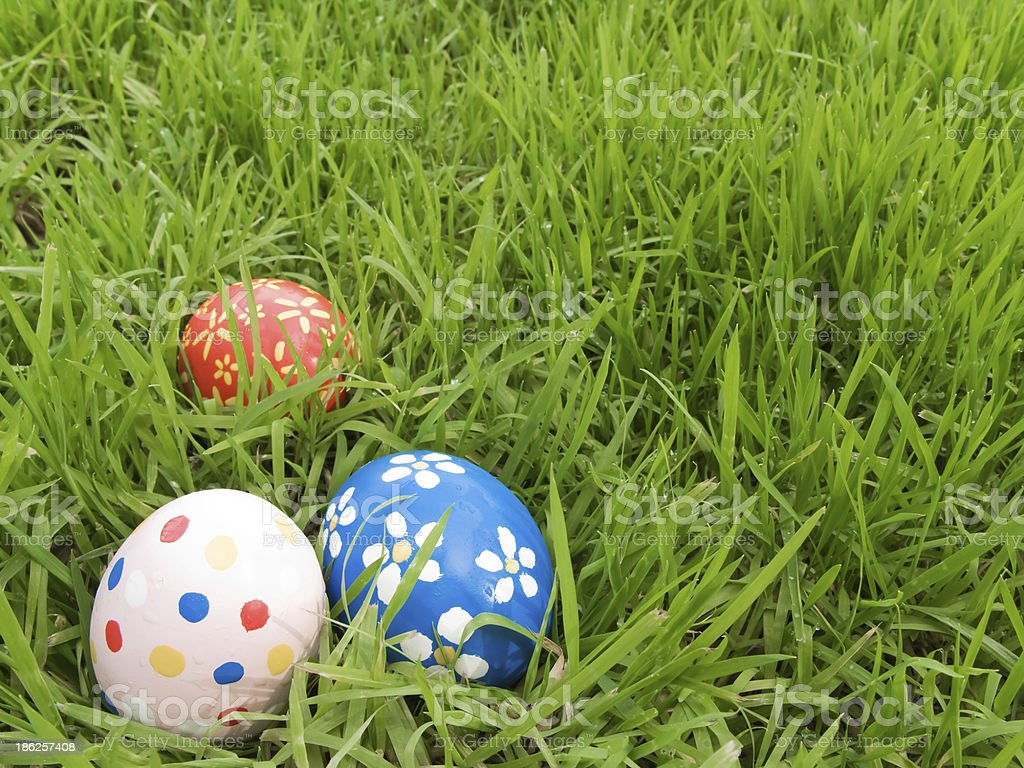 Easter eggs hidden in the grass royalty-free stock photo