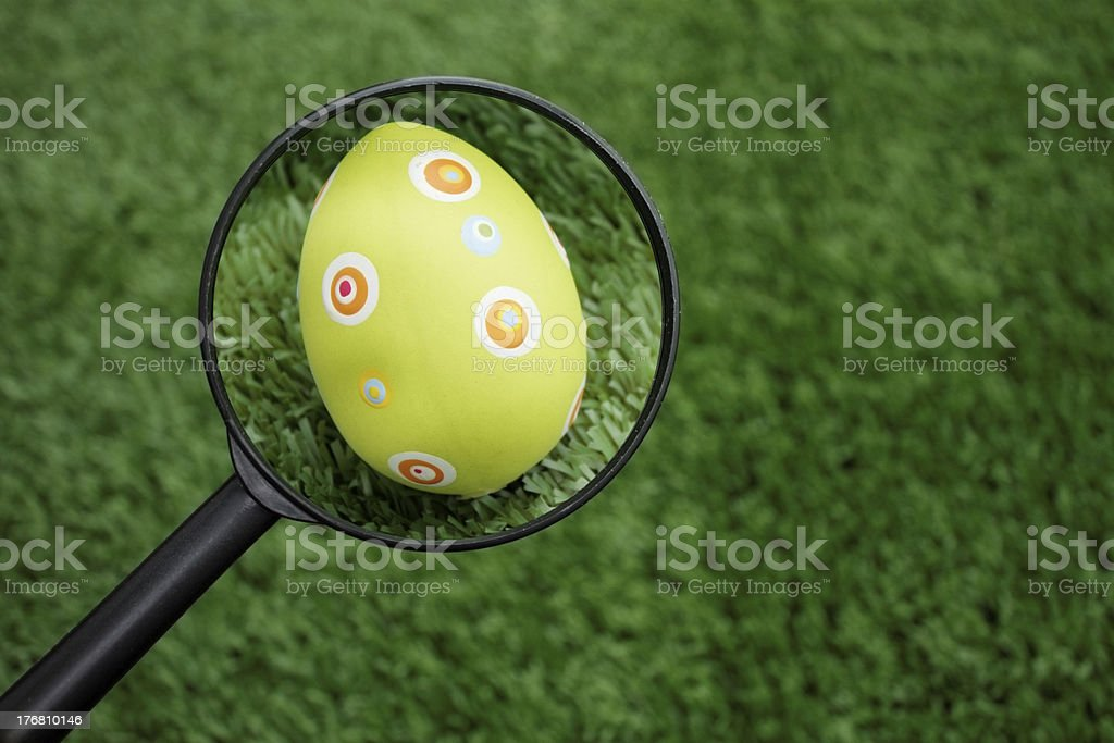 Easter eggs hunt stock photo