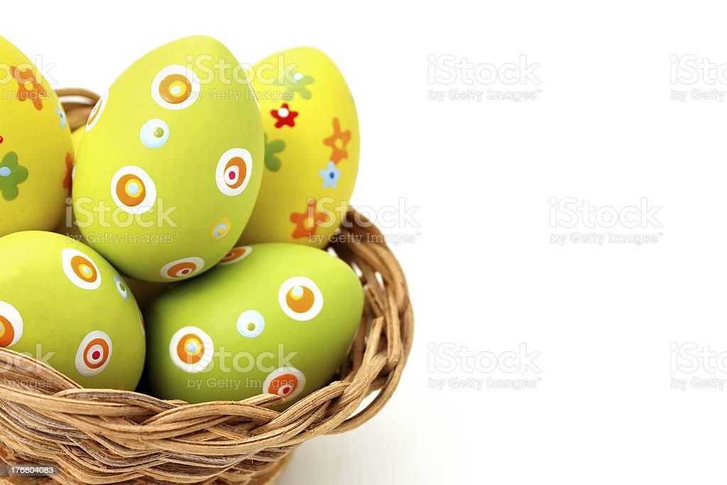 Easter eggs in a basket from bottom corner royalty-free stock photo