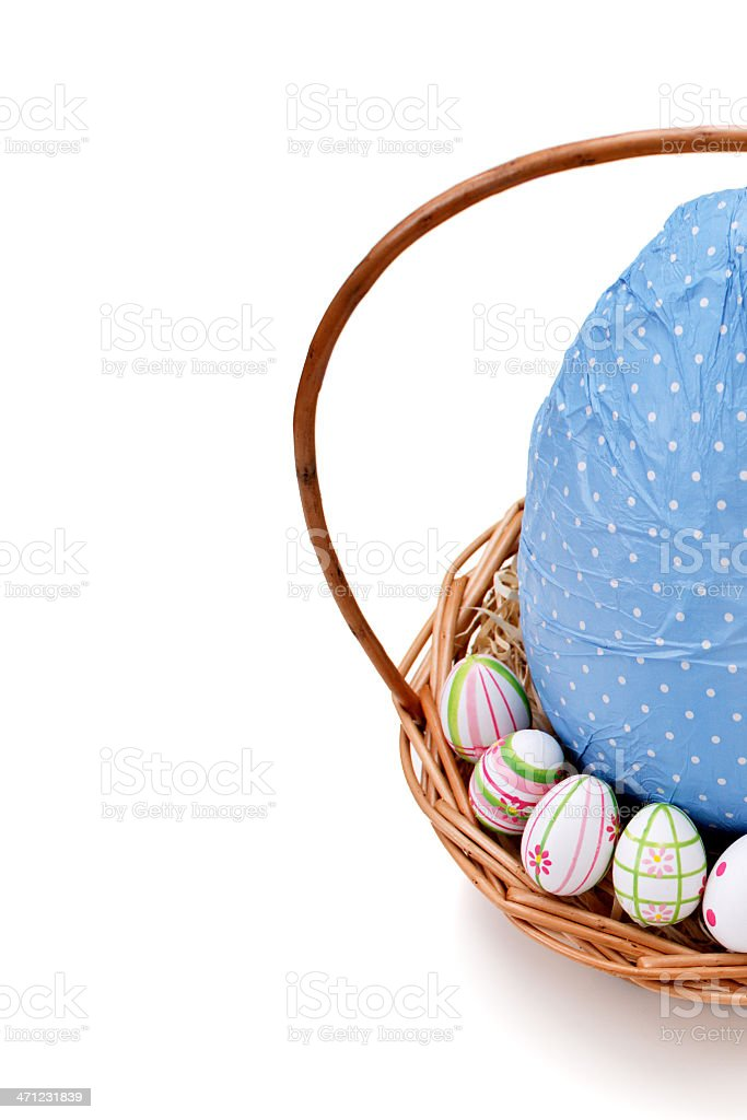 Easter eggs in a basket from corner stock photo