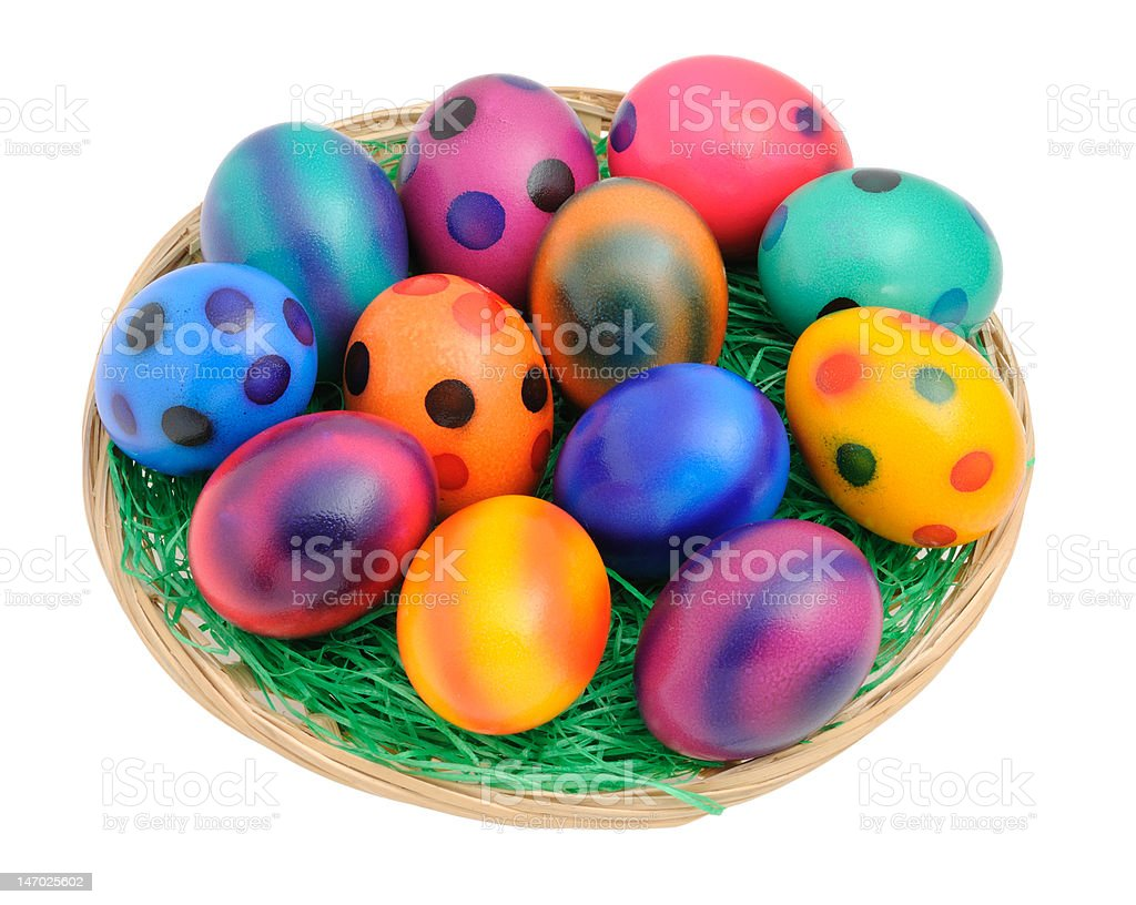 Easter eggs in a Basket royalty-free stock photo