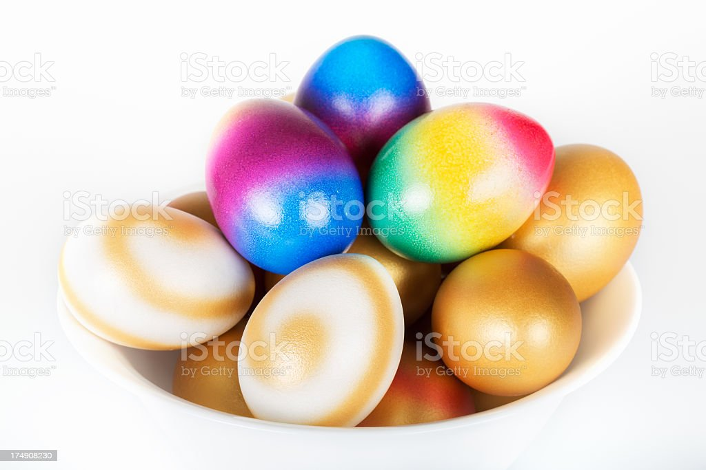 Easter eggs in a bowl royalty-free stock photo