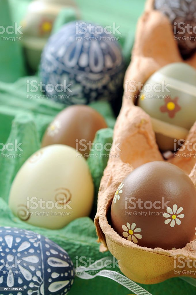 easter eggs in a box stock photo