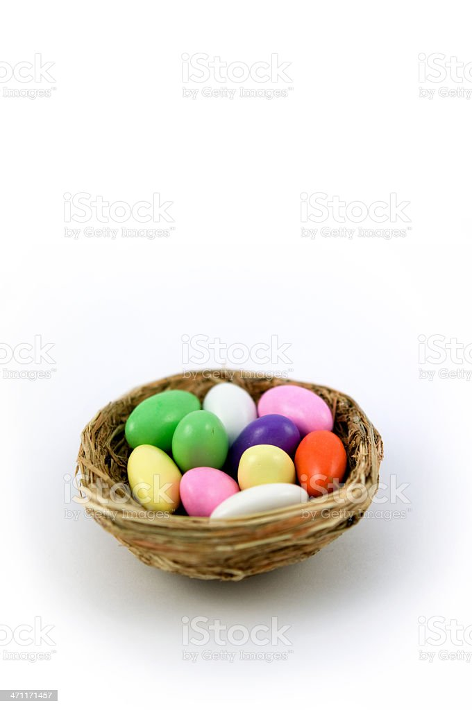 easter eggs in a nest royalty-free stock photo