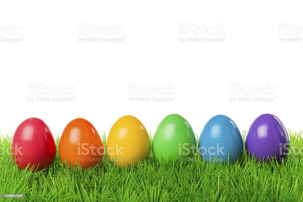 Easter eggs in a row stock photo