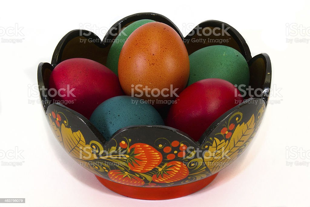 Easter eggs in a vase royalty-free stock photo