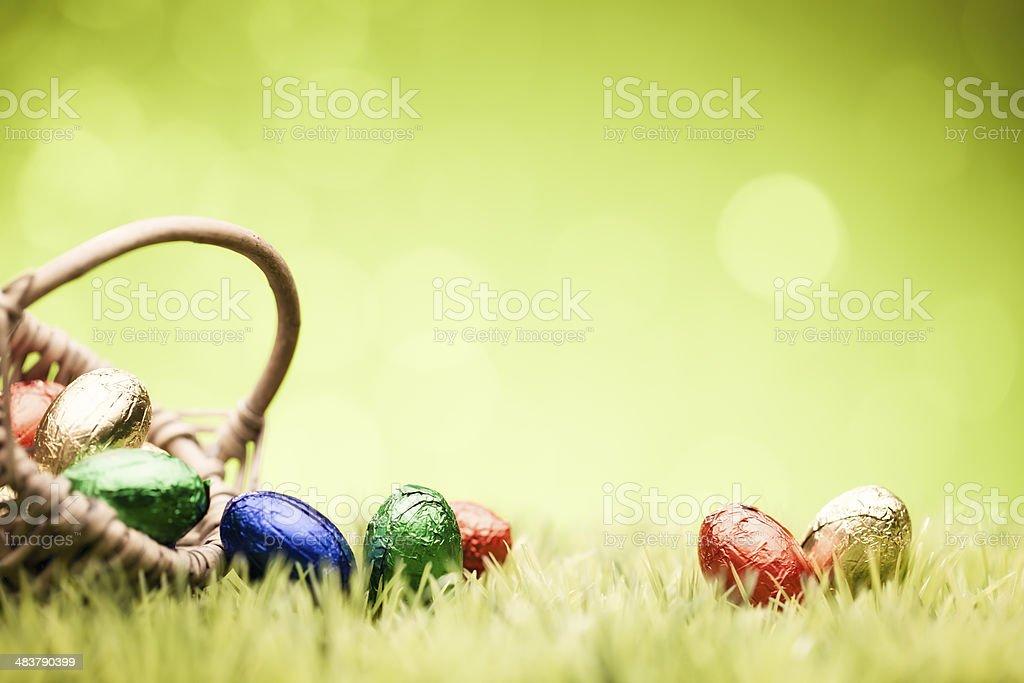 Easter Eggs in basket - Green Grass Defocused Bokeh Backgrounds stock photo