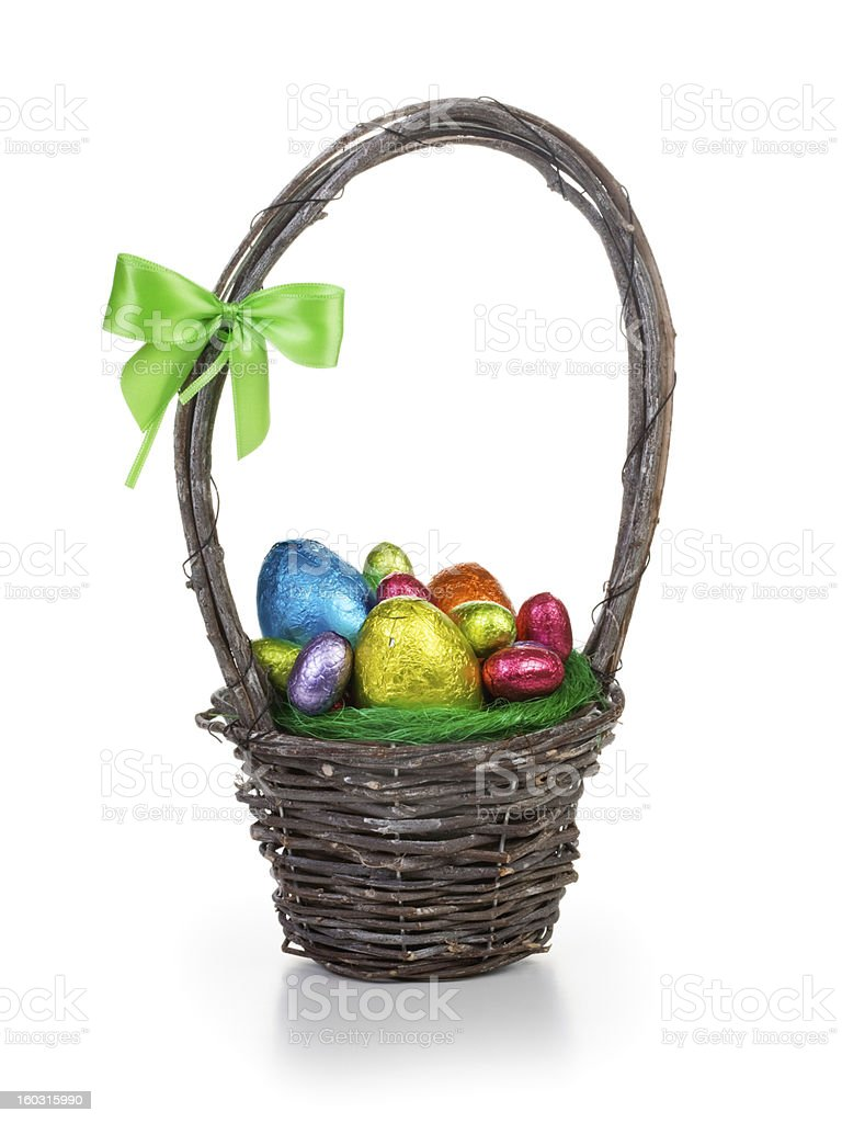 Easter eggs in basket royalty-free stock photo