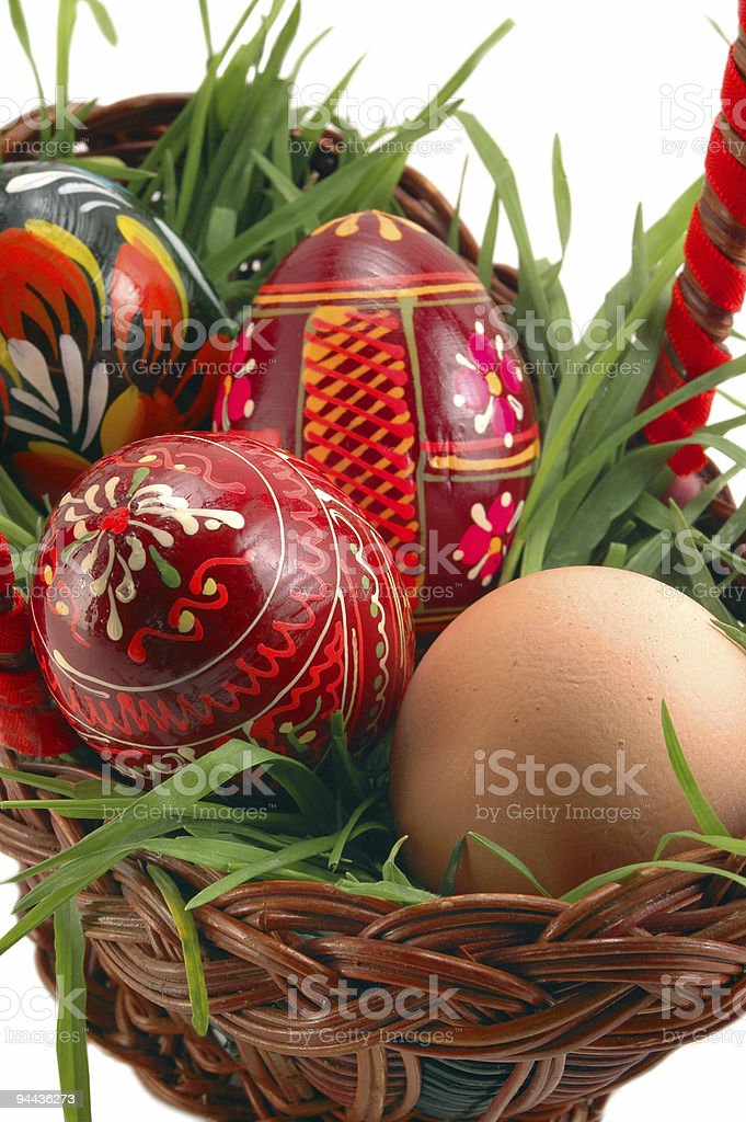 Easter eggs in basket with grass royalty-free stock photo