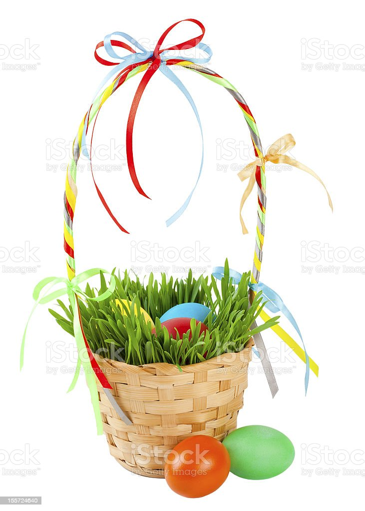 Easter eggs in basket with green grass royalty-free stock photo