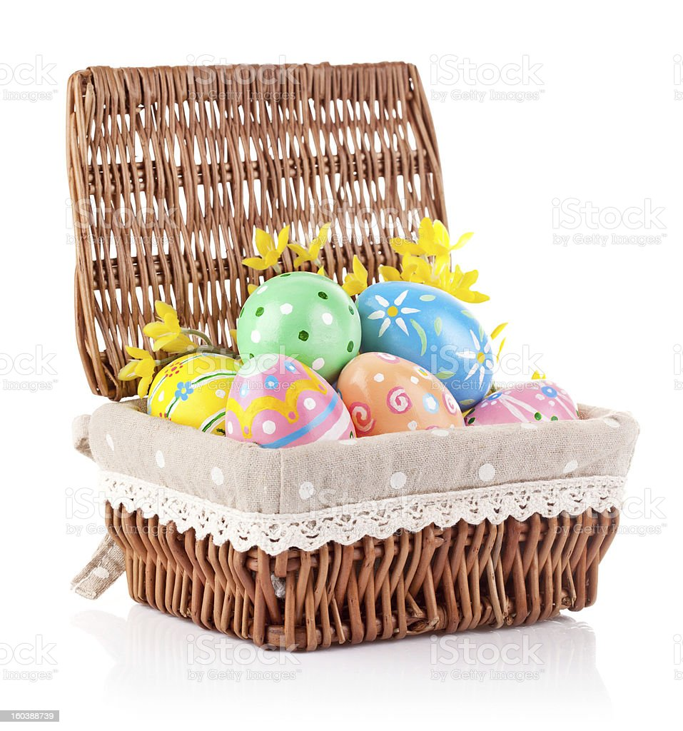 easter eggs in basket with yellow flowers royalty-free stock photo