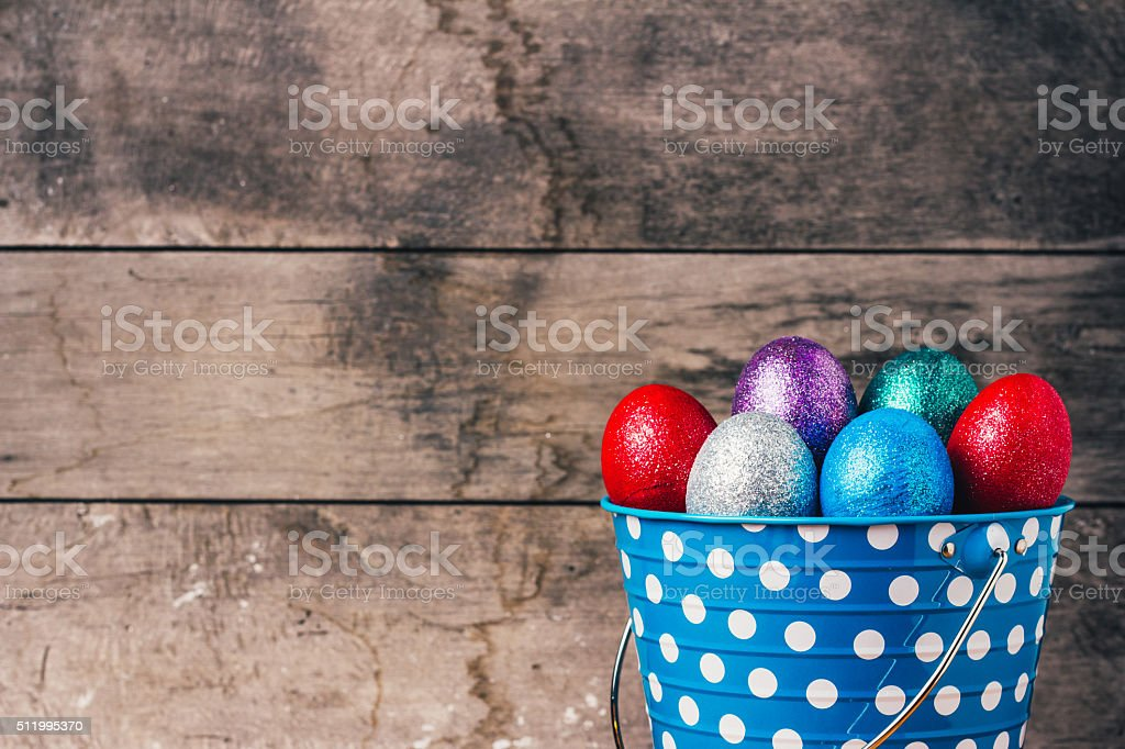 Easter Eggs In blue Tin Bucket stock photo