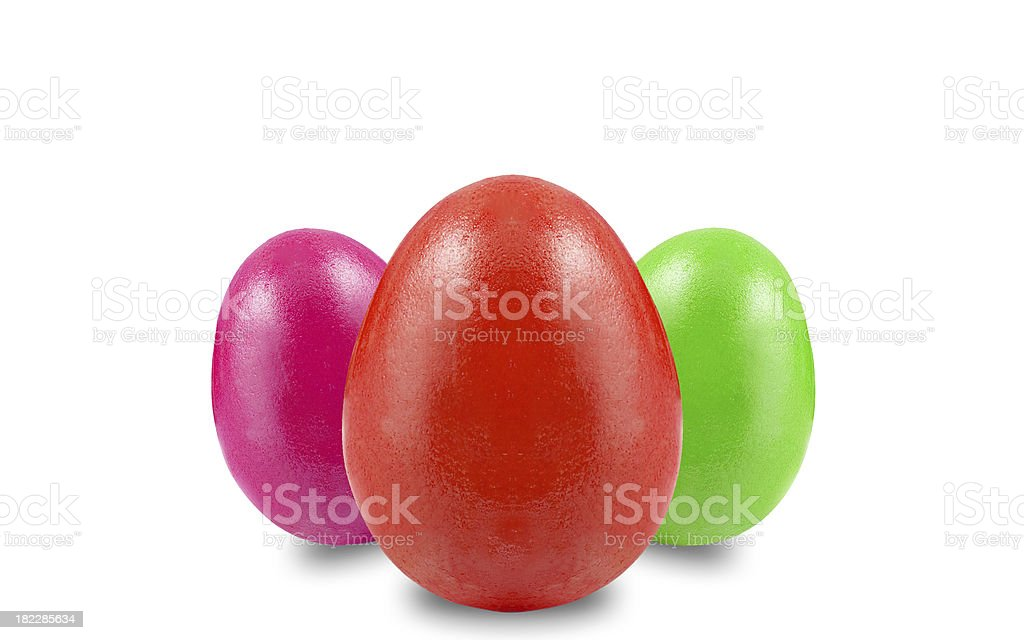 easter eggs in different colors on white background royalty-free stock photo