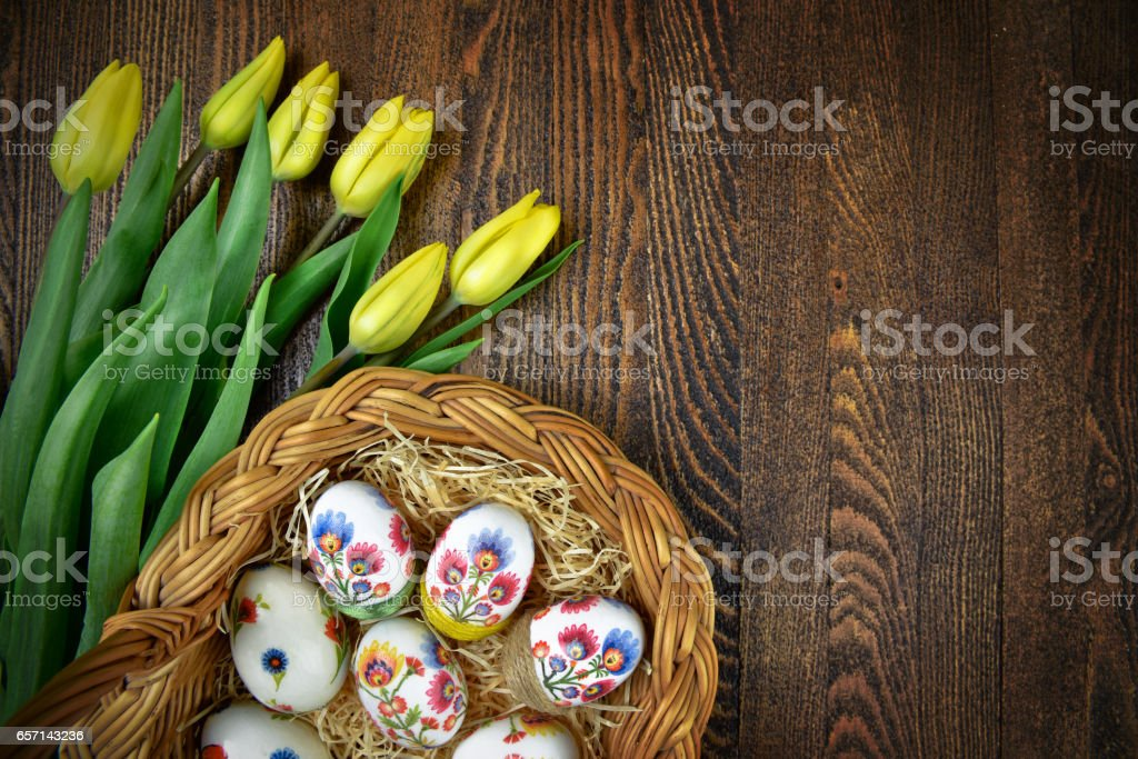 Easter eggs in hand made decoupage decoration. Polish design stock photo