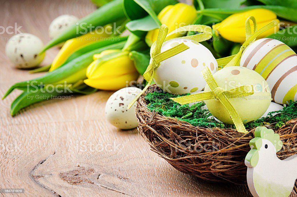 Easter eggs in holiday setting royalty-free stock photo