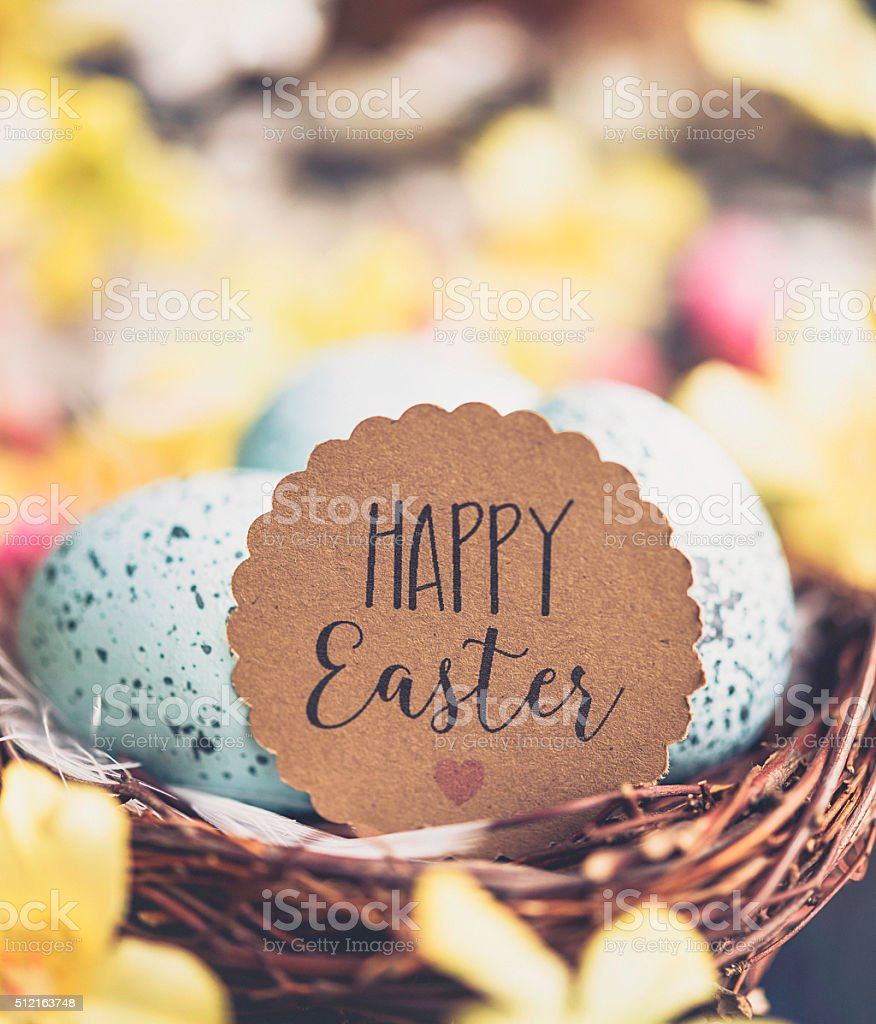 Easter eggs in nest with defocused blossoms stock photo