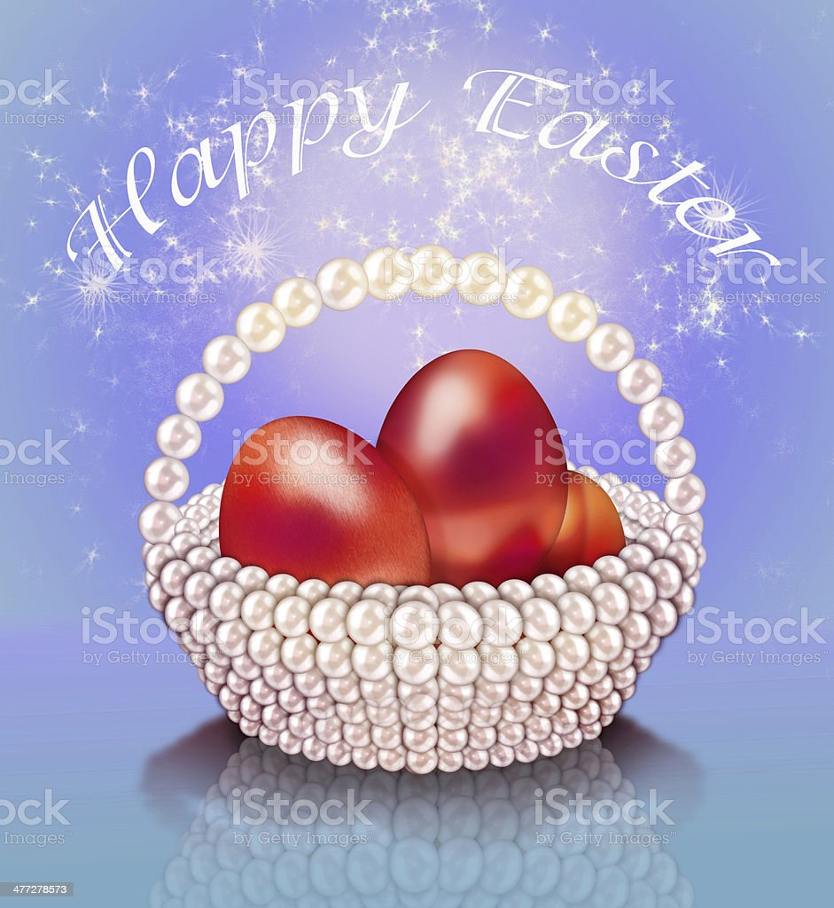Easter eggs in pearl basket, greeting card royalty-free stock photo