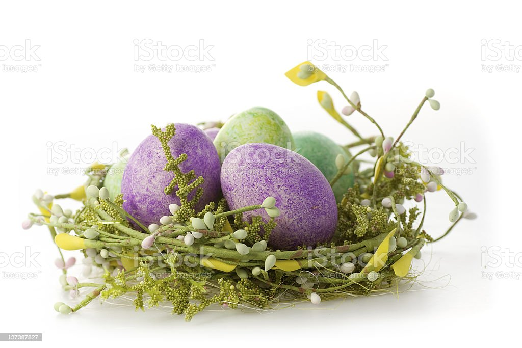 Easter eggs in purple stock photo