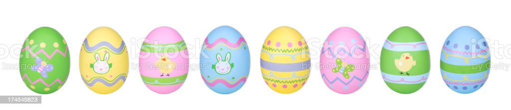 Easter Eggs in Row stock photo