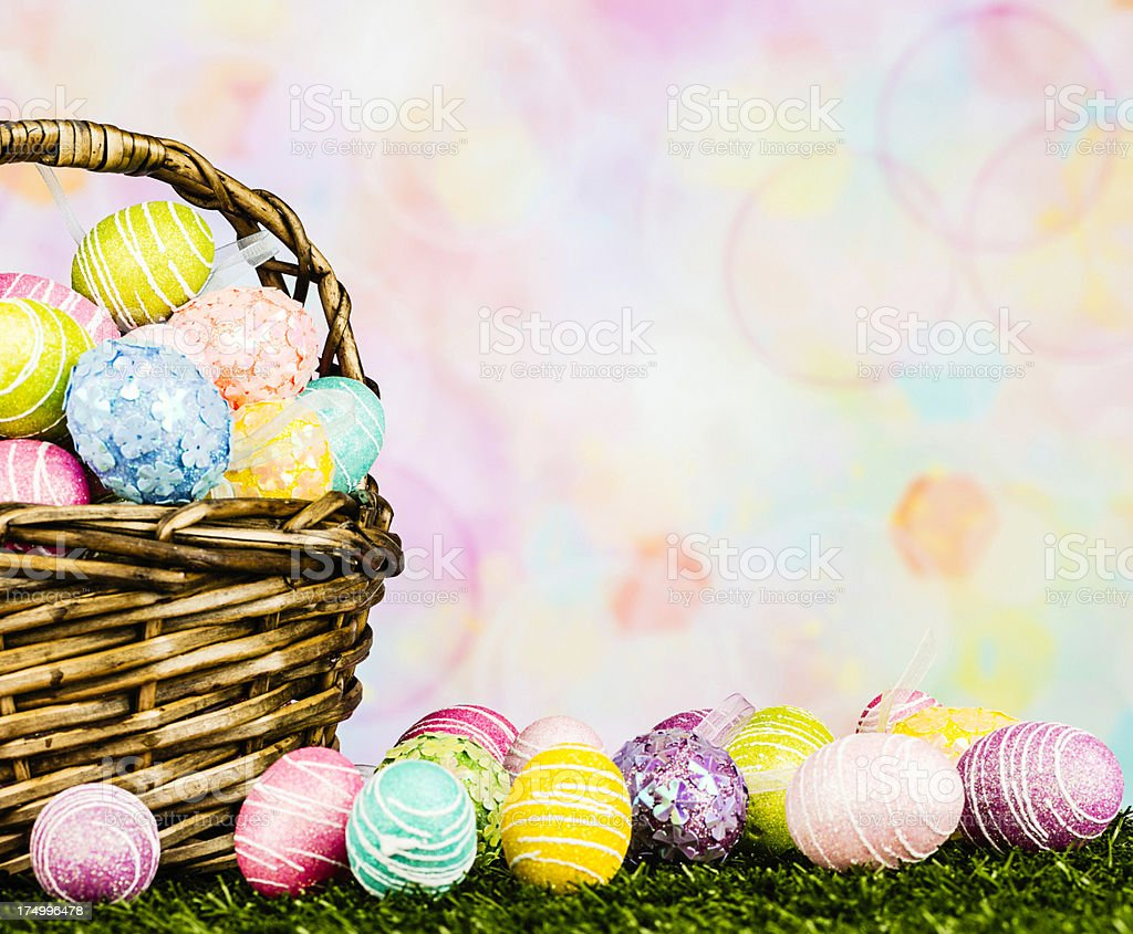 Easter Eggs in Rustic Basket royalty-free stock photo