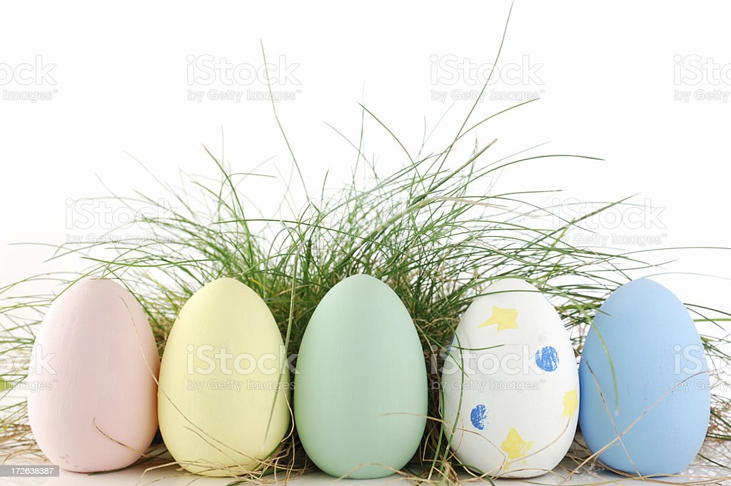 Easter eggs in the field royalty-free stock photo