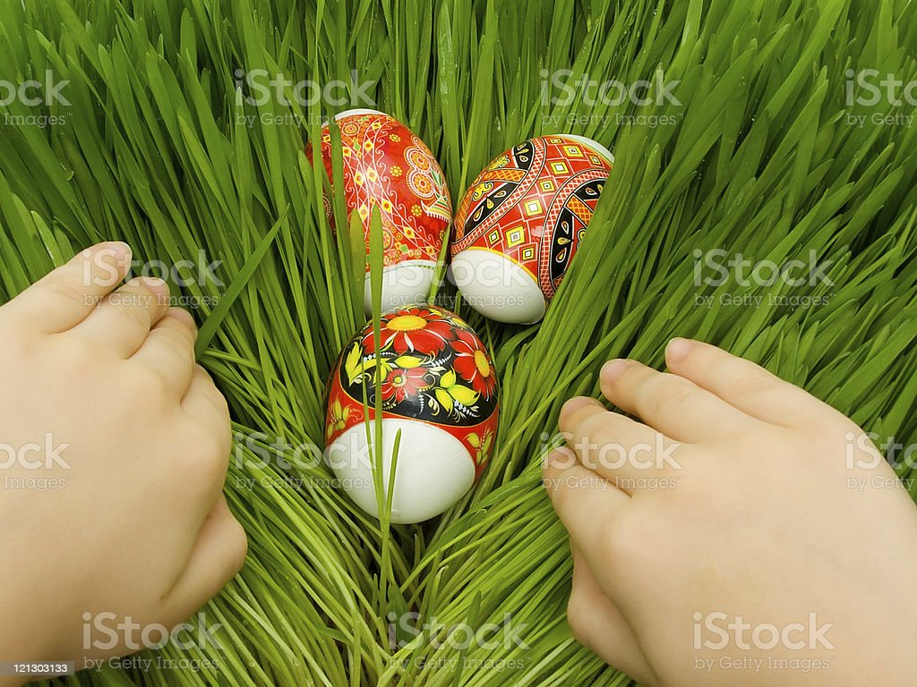 Easter eggs in the grass and hands royalty-free stock photo