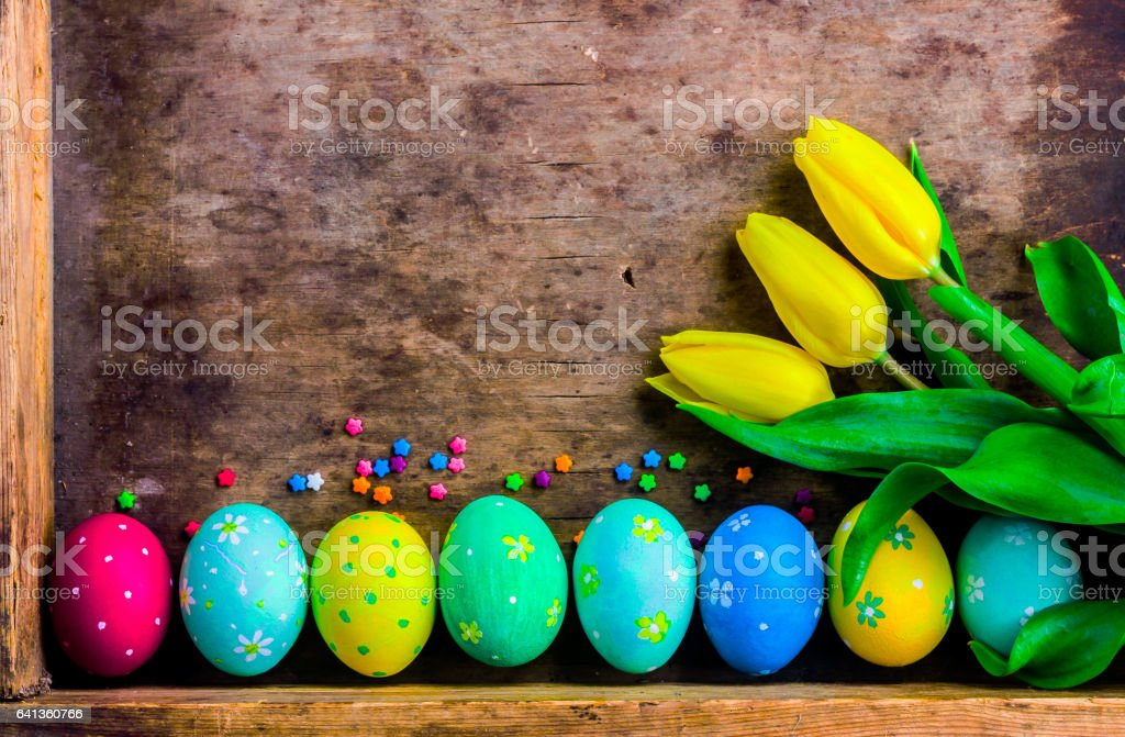 Easter eggs in the old box stock photo