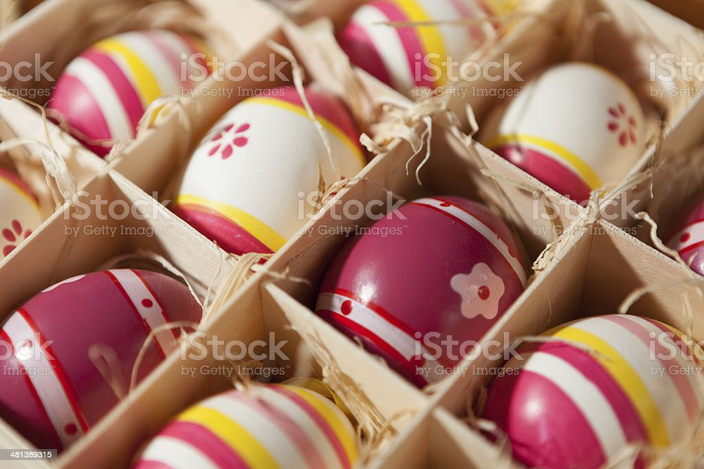 Easter eggs in wood box stock photo
