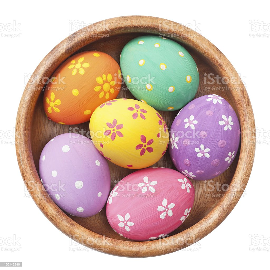 easter eggs in wooden bowl royalty-free stock photo