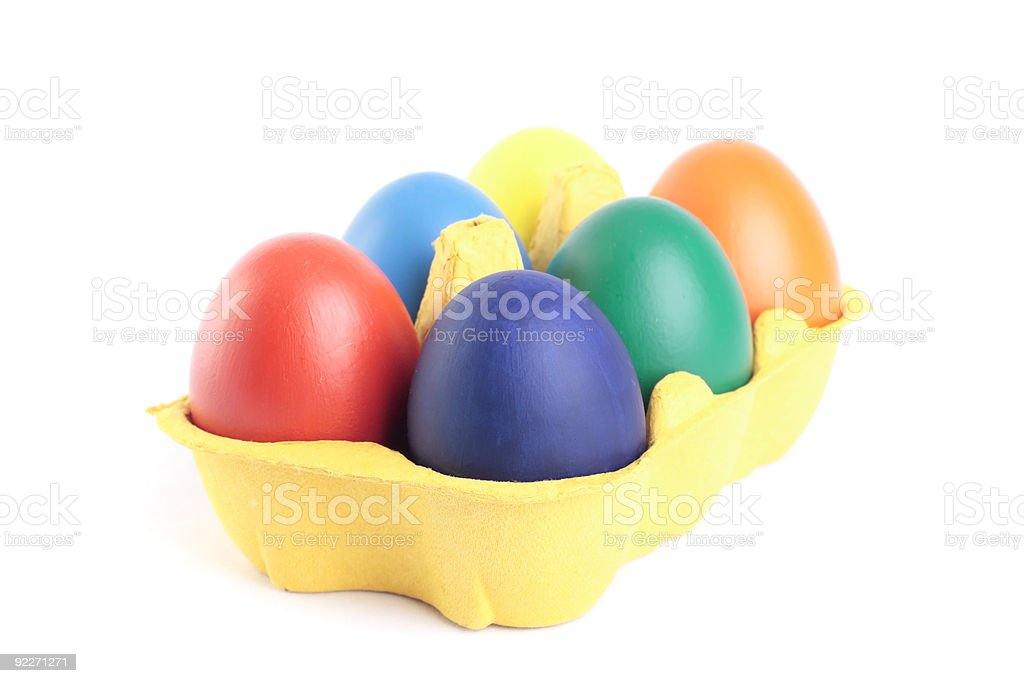 Easter eggs in yellow carton royalty-free stock photo