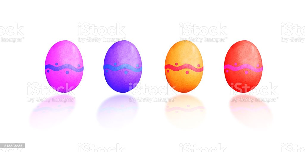 Easter eggs, isolated on white background stock photo