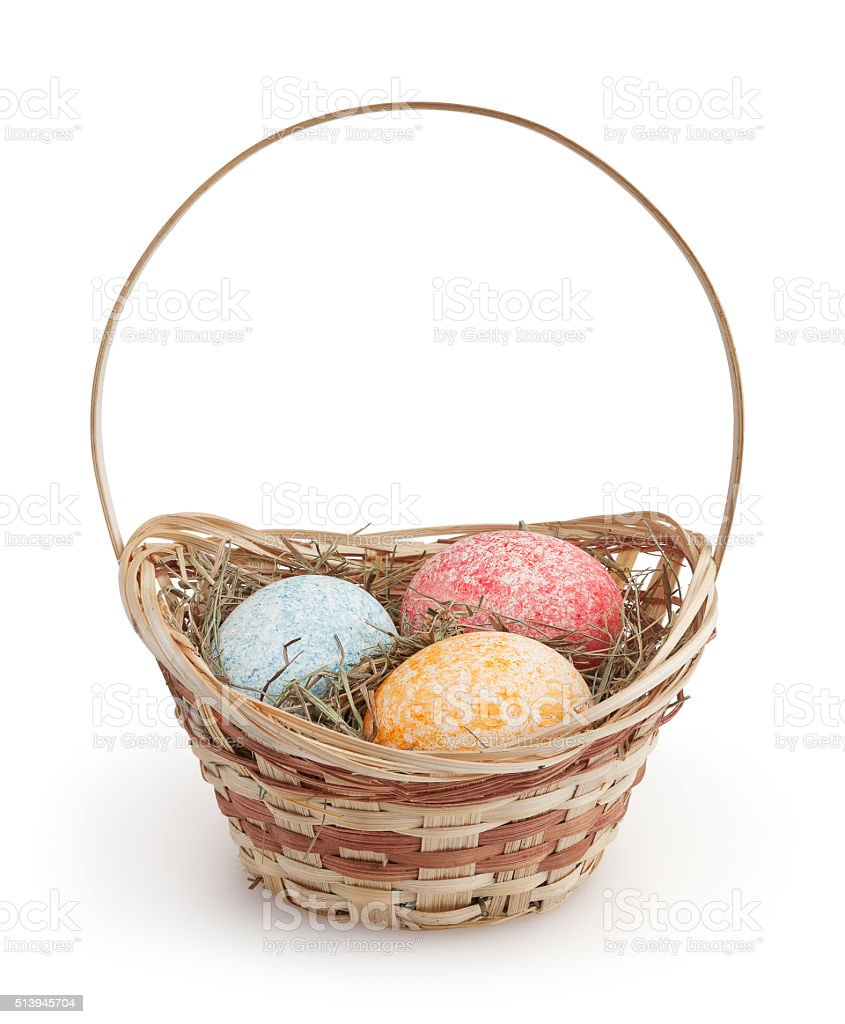 Easter eggs isolated on white background with clipping path stock photo