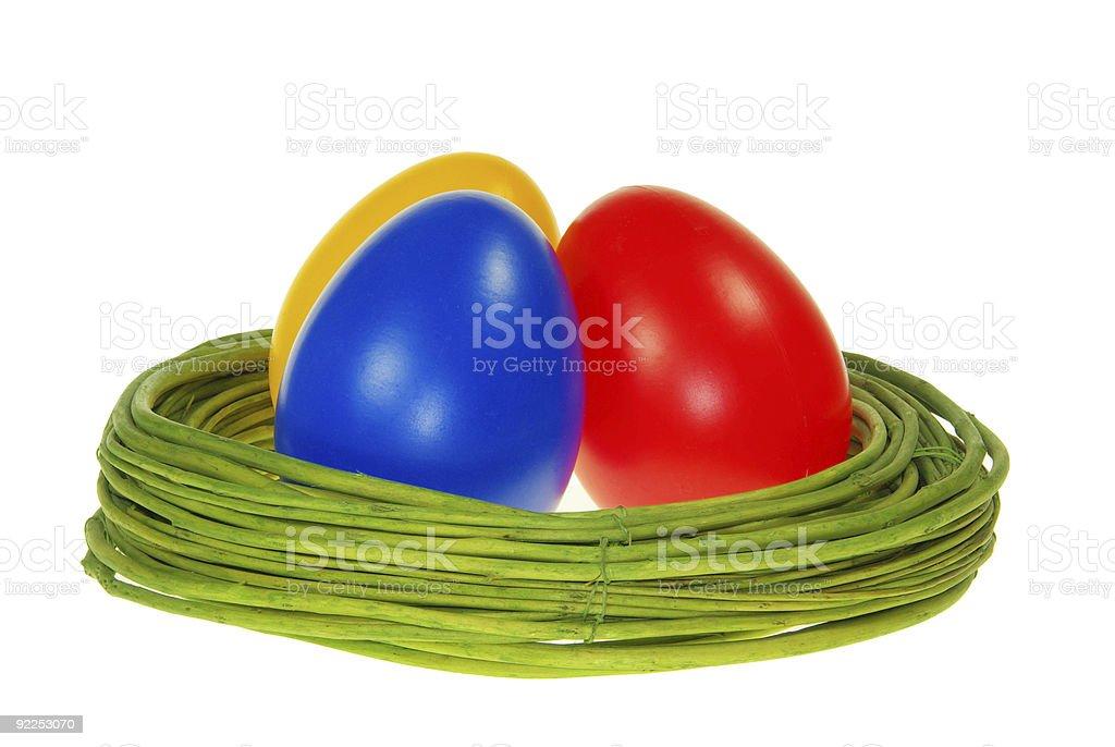 easter eggs isolated stock photo