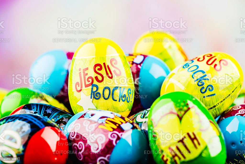 Easter Eggs: Jesus Rocks royalty-free stock photo