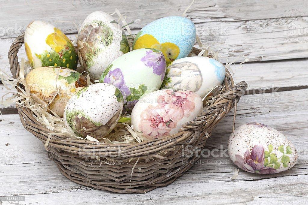 easter eggs made decoupage methods stock photo