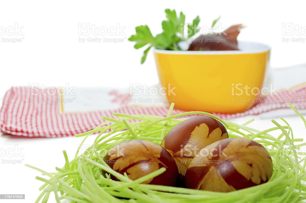 Easter eggs nest royalty-free stock photo