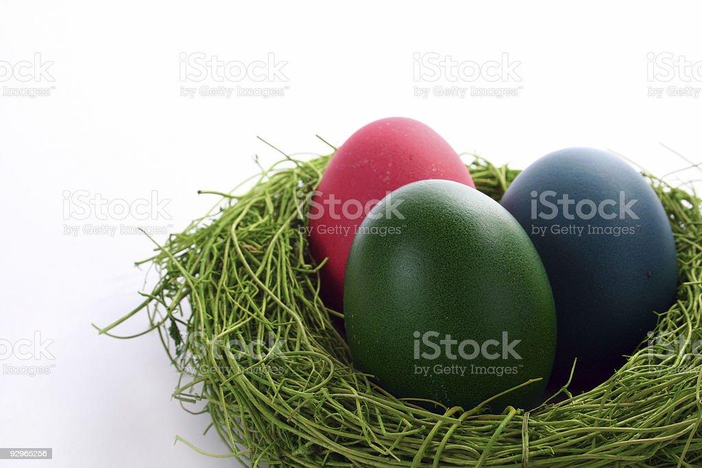 Easter eggs nest royalty-free stock photo