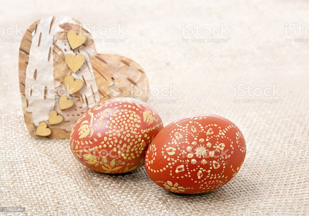 Easter eggs on a rough sackcloth royalty-free stock photo