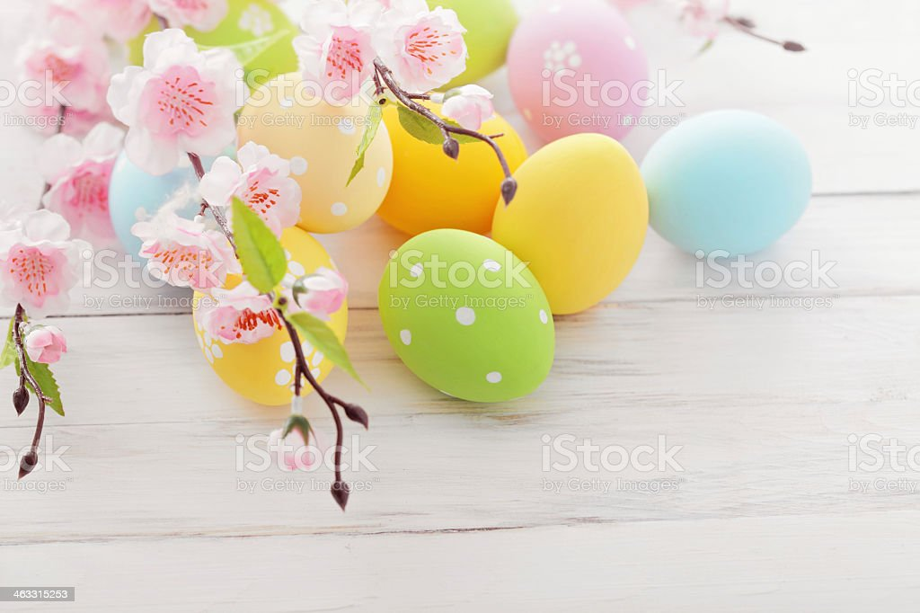 Easter eggs on a white wooden table with cherry blossoms stock photo