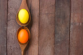 Easter eggs  on a Wooden kitchenware and wood background