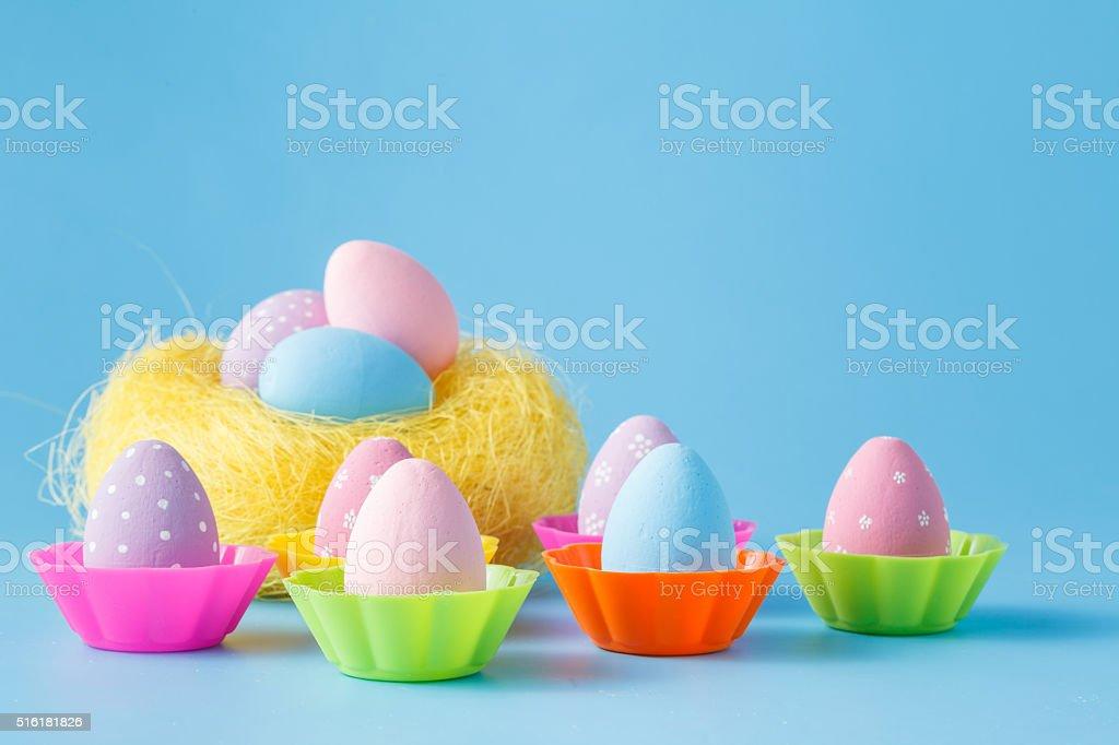 Easter eggs on blue stock photo