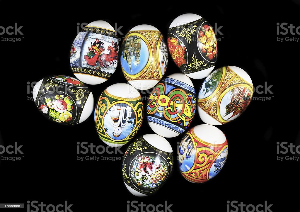 Easter eggs on colour background. royalty-free stock photo