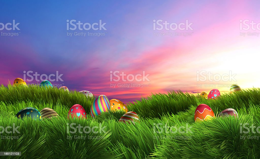 Easter eggs on dreamy sunset (XXXL) royalty-free stock photo