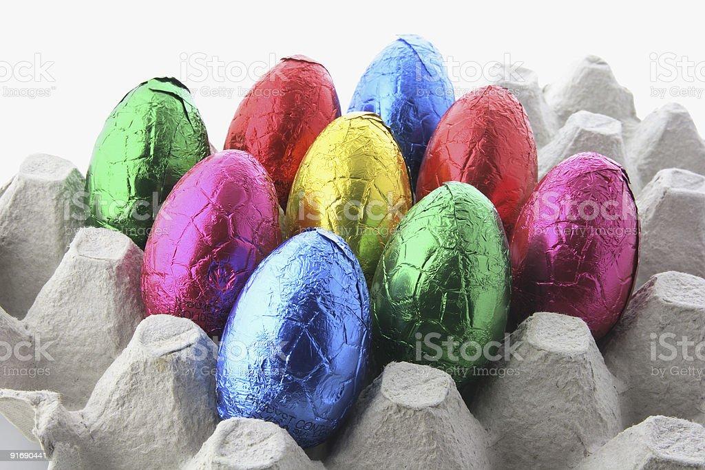 Easter Eggs on Egg Carton royalty-free stock photo