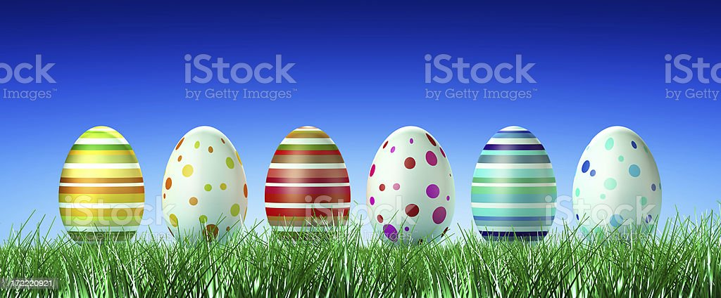 Easter Eggs on Grass (XXL) royalty-free stock photo