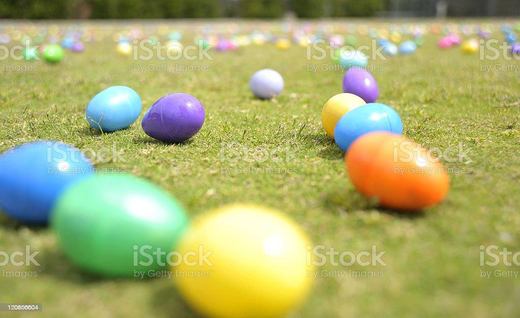 Easter Eggs on Grassy Field stock photo
