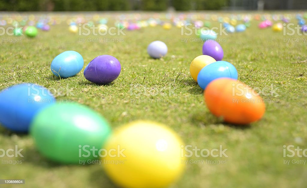 Easter Eggs on Grassy Field stock photo